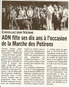 Annonce Marche des Potirons 2011- l'écho