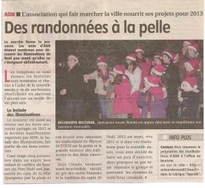 Article de presse pour la marche des illuminations- Le populaire 2013