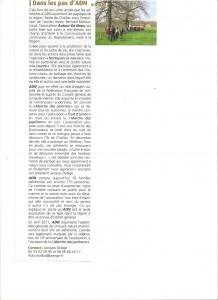 Présentation de l'association ADN dans bulletin de la mairie de Saint junien- bonjour
